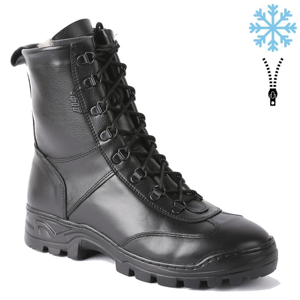 Véritable cuir à lacets et fermeture éclair noir bottines avec fourrure hommes chaussures hautes plat militaire bottes 0055 \ 1 ZA