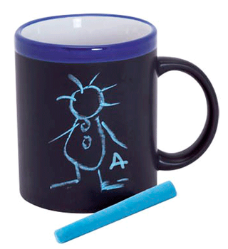 Slate From Ceramics Cup Mugs With Chalk For Coloring-Details And Gifts For Weddings, Christening Suits, Communions, Birthday And Holiday.