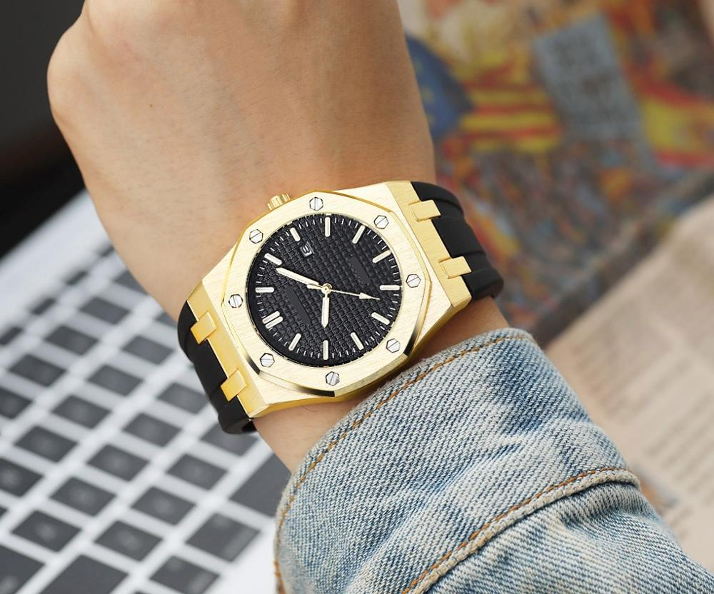 41mm Sportive Men Watches High Quality Waterproof Top Brand Luxury Gold Military Wrist Watch Men Clock Relogio Masculino Watch
