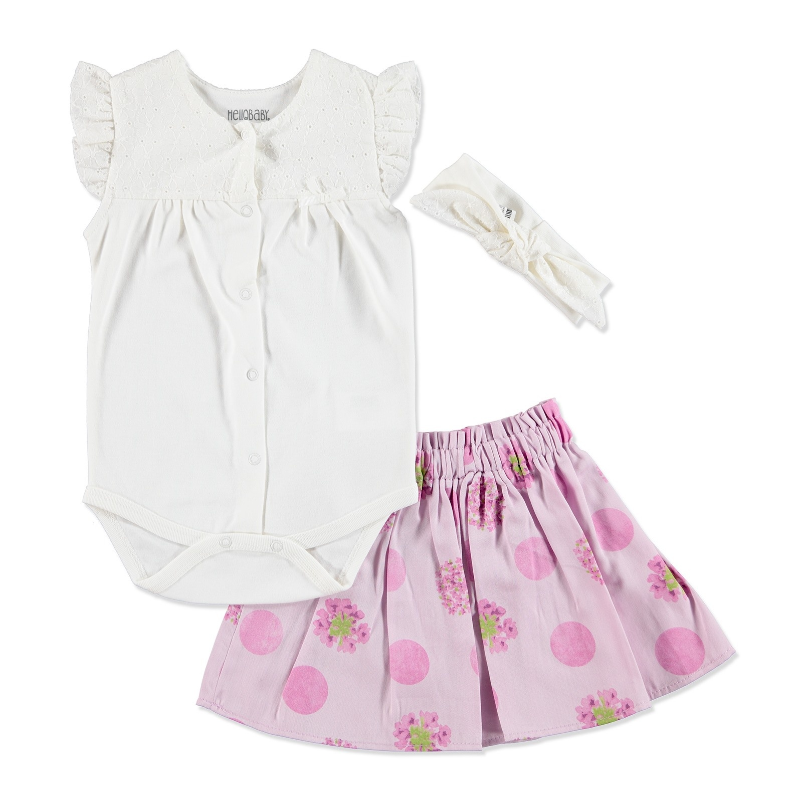 Ebebek HelloBaby Summer Baby Girl Dot Flower Skirt T-shirt Set