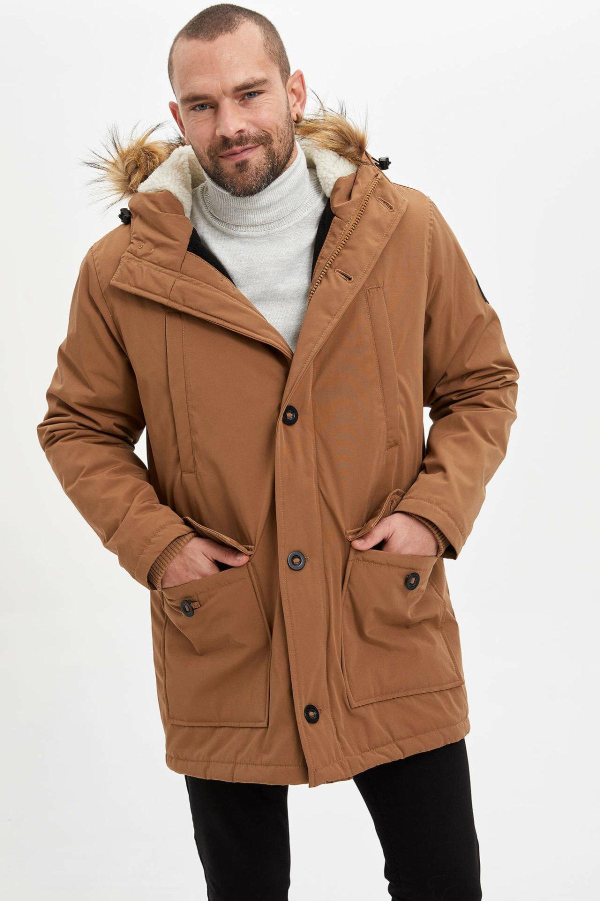 DeFacto Man Winter Khaki Black Color Thick Top Coat/ Men's Casual Hooded Warm Parka Men Zipper Long Cotton Coats-K9994AZ19WN