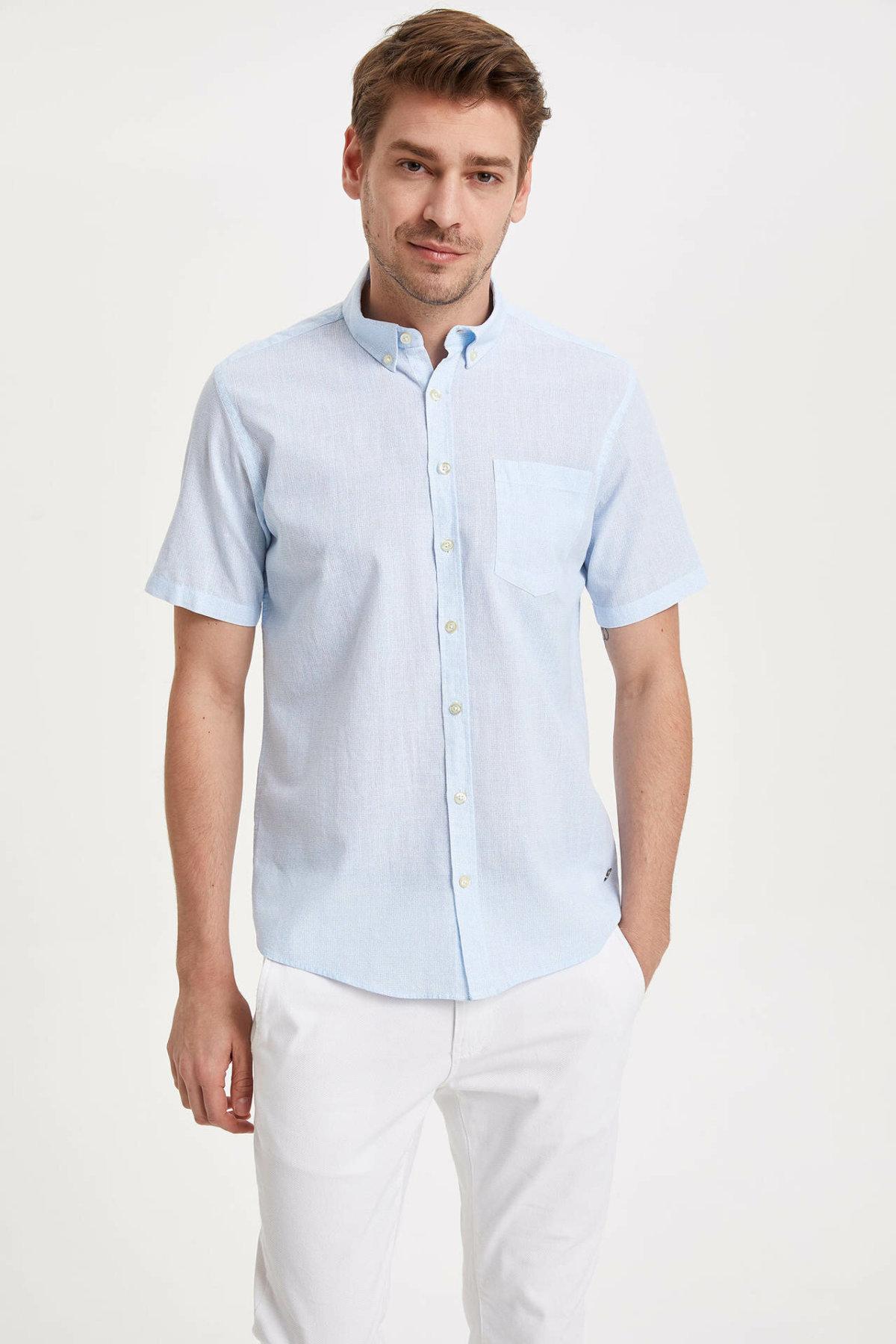 DeFacto Men Fashion Casual Pure Color Short Shirts Lapel Collar Male Shirts Cotton Male Lapel CollarTops New - K3742AZ19SMBE403-K3742AZ19SM