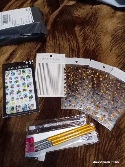 3 Size Nail Art Gold Round Top Painting Brush Set Gel Polish Tips Extending Coating 3D Petal Flower DIY Drawing Shaping Pens Kit reviews №1 124355