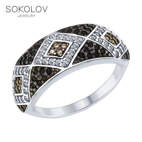 Ring. Sterling Silver With Clear, Brown And Black Cubic Zirkonia Fashion Jewelry 925 Women's Male