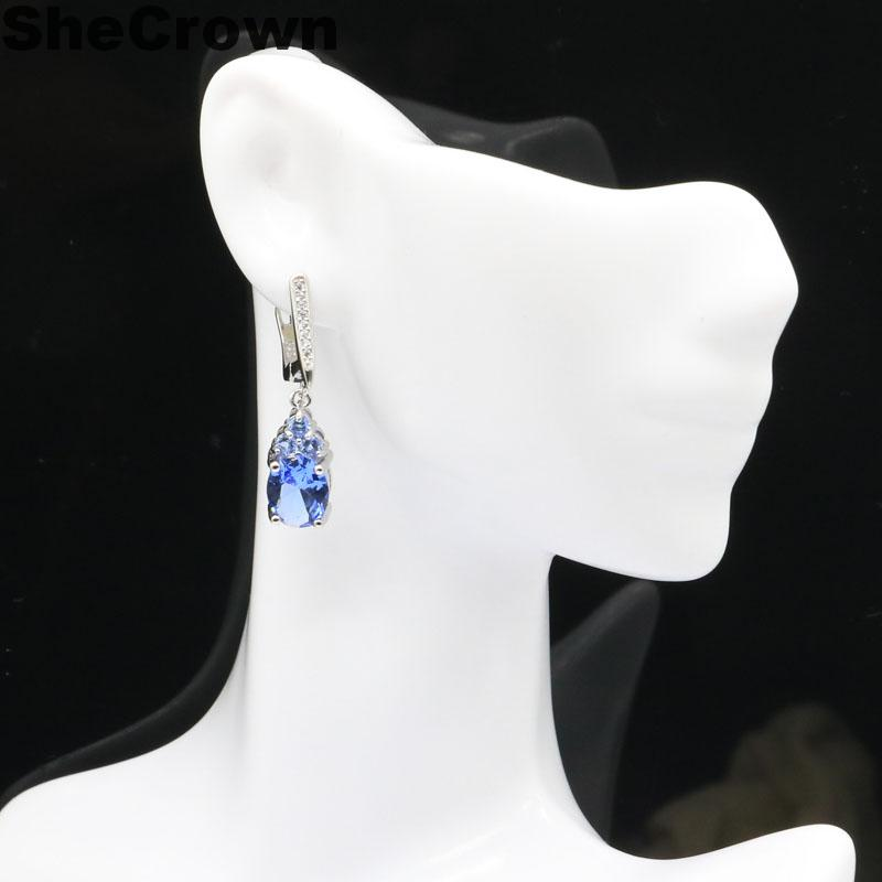 32x8mm Ravishing Drop Created Rich Blue Violet Tanzanite Natural Cubic Zirconia Gift For Sister Silver Earrings