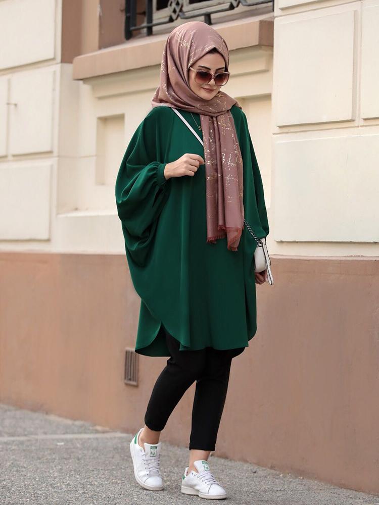 Hijab Tunic Muslim Women Fashion Wide Cut Bat Sleeve New Season High Quality Crepe Fabric Arabia Dubai Europe Moroccan Model