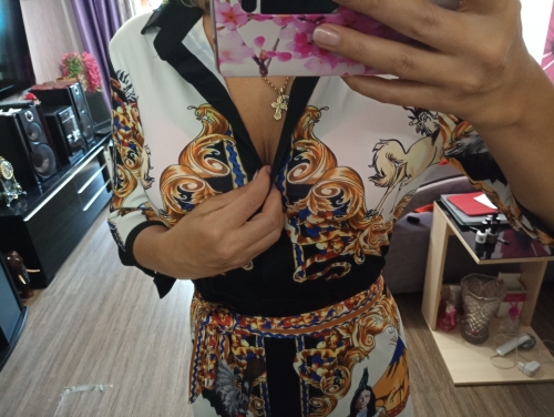 Women  V Neck Scarf Print Belted Wrap Casual Dress Spring Half Sleeve Party Midii Dress Vacation Ladies Dresses photo review