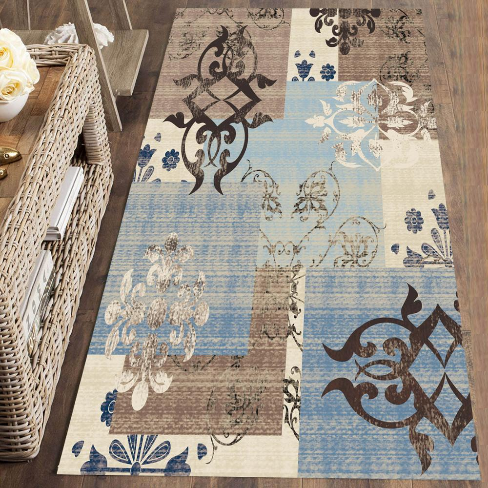 Else Blue Brown Retro Patchwork Moroccan  3d Print Non Slip Microfiber Washable Long Runner Mat Floor Mat Rugs Hallway Carpets