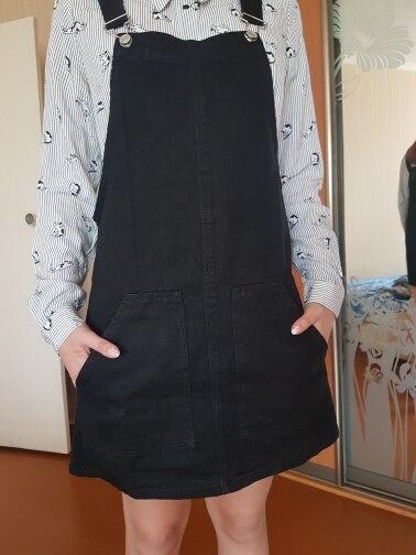 Women Fashion Black White Striped Pocket Denim Adjustable Suspender Dress Belt Autumn Female Braces Romper Dress photo review