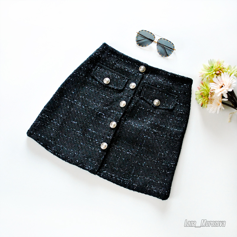 Fall Winter Plaid Wool Skirt Womens Royal Button Pocket Front Plus Size Glitter Tweed Mini Skirt Saia Feminina photo review