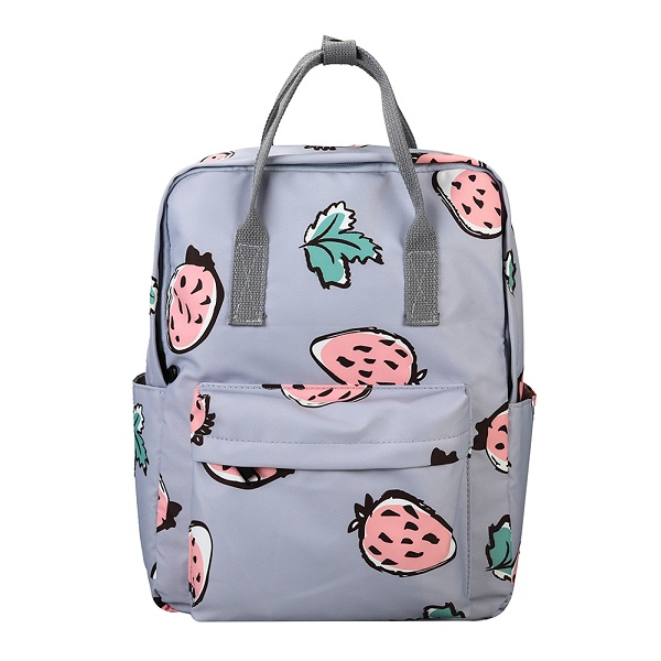 Strawberry Print Canvas School Backpack - womens-school-backpacks, womens-canvas-backpacks, womens-bags, new-arrivals, mens-school-backpacks, mens-canvas-backpacks, mens-bags, google-feed-new
