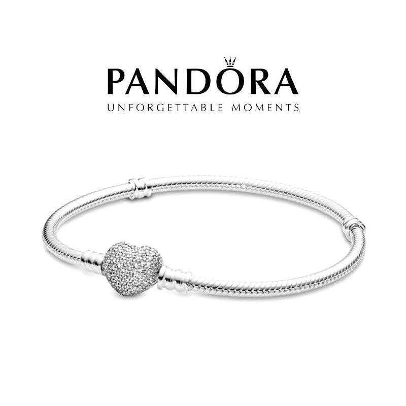 Браслет PANDORA Серебряный со сверкающими кристаллами и застежкой в виде сердца