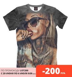 Männer T shirt mädchen tattoo