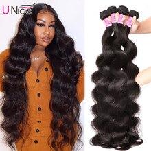 Mèches péruviennes 100% naturelles – UNice Hair, Extension de cheveux, Body Wave, couleur naturelle, tissage, 30 pouces, 1/3/4 pièce