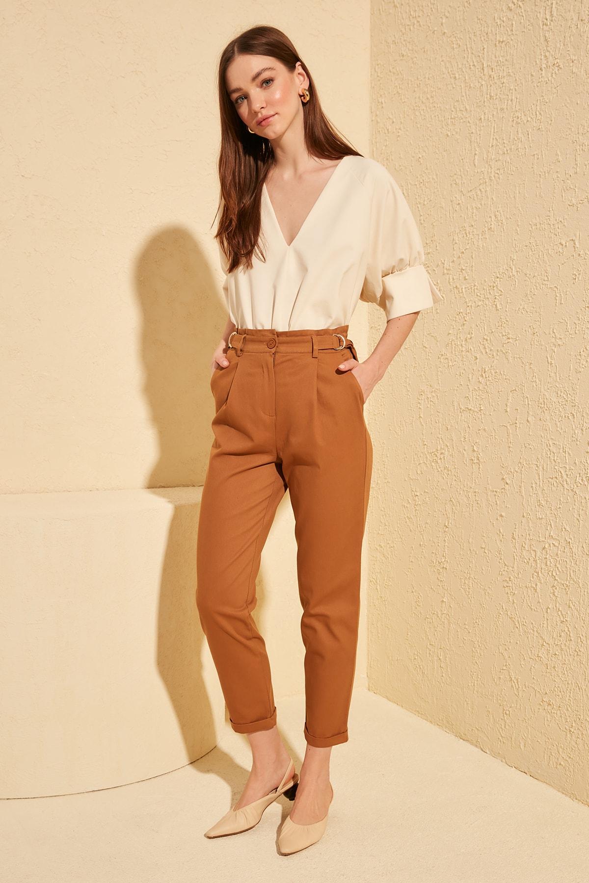 Trendyol Belt Detail Pants TWOSS20PL0054