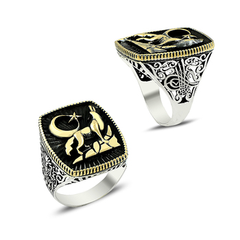 925 Silver Tribal Wolf and Moon Printed Turkish Rings for Men