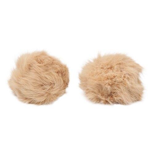 Pompon Made Of Natural Fur (rabbit), D-8cm, 2 Pcs/pack (C St. Beige)