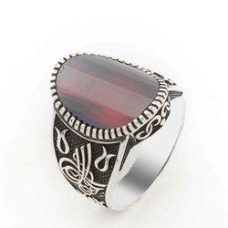 Красный камень циркон тугра подробное серебряное мужское кольцо