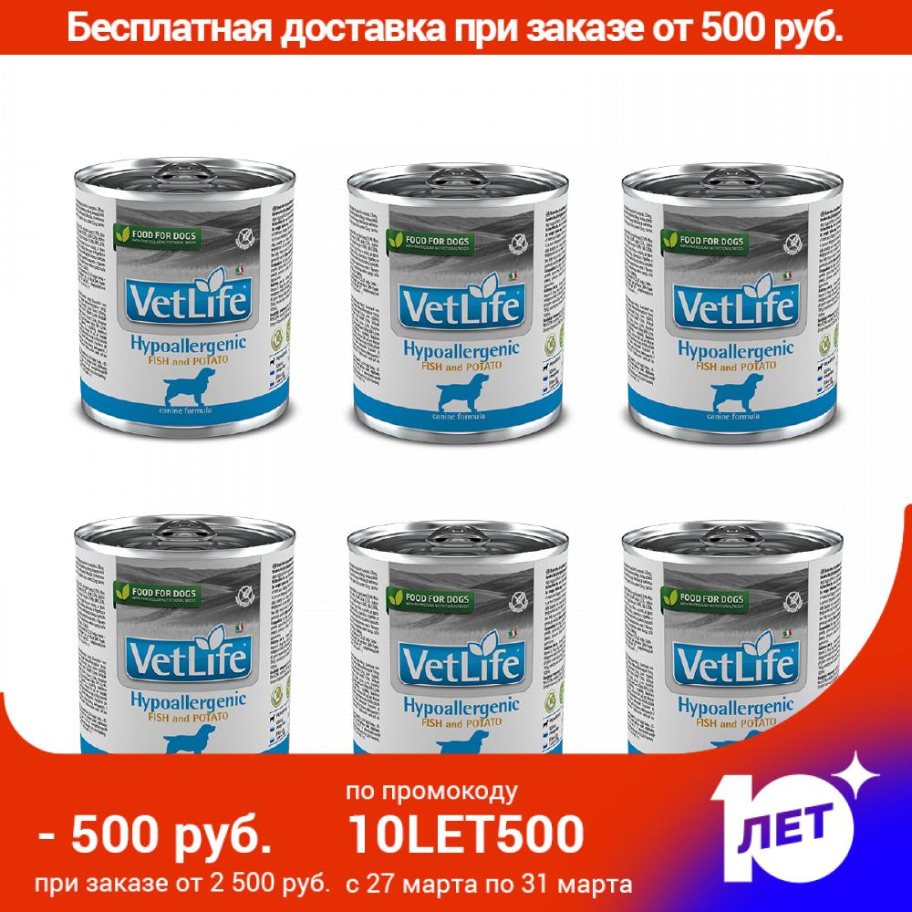 Vet Life Dog консерcanned Foods For Dogs With Food Allergies And/or Intolerance, Fish And Potatoes, 6*300g