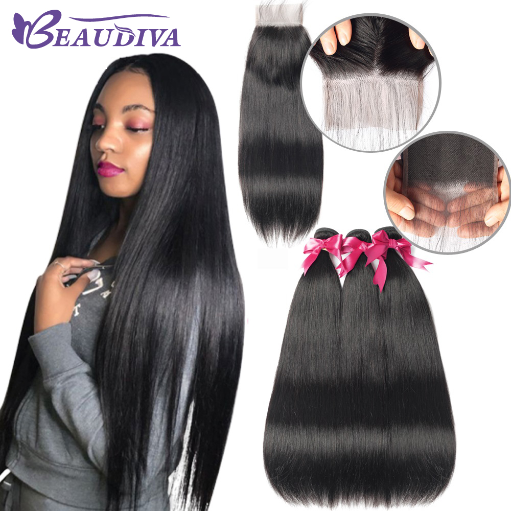 BEAUDIVA Peruvian Straight Hair Bundles With 4*4 Lace Closure Straight Hair Bundles With Closure Human Hair Bundles With Closure