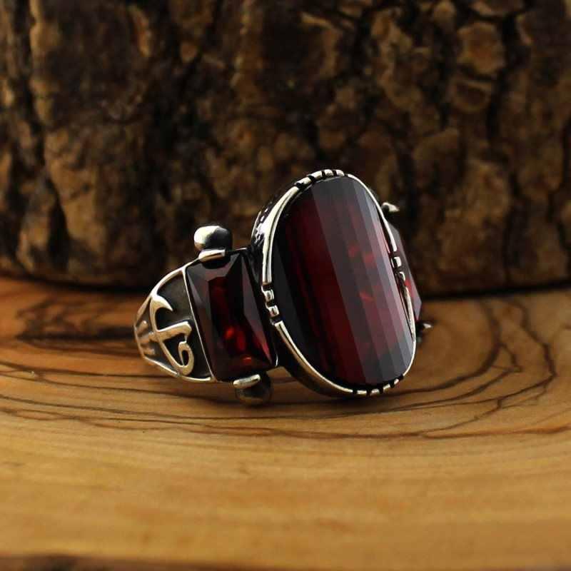 925 Серебряное кольцо для мужчин с красный камень циркон