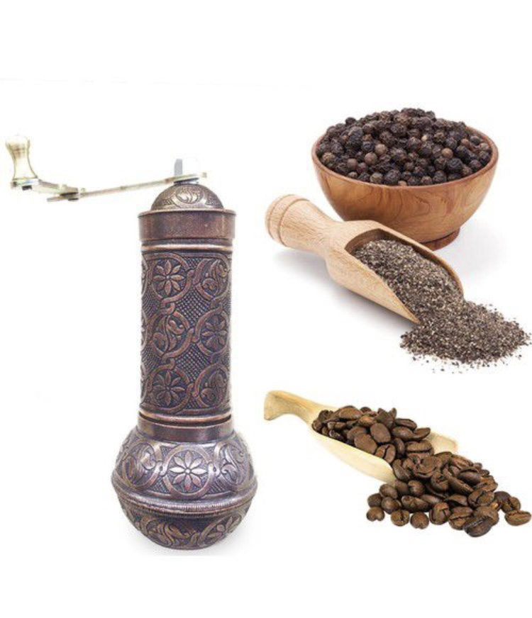 6-SILVER- Authentic -Anatolian- Turkish -Copper -Grinder- Salt -Pepper -Coffee-Mill-Spice-Salt-Grinder- Pepper -Grinder -Made- in-Turkey