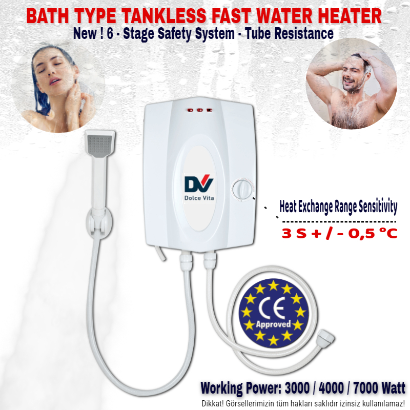 BATH TYPE TANKLESS WATER HEATER-NEW 6 STAGE SAFETY SYSTEM AND 3S FAST WATER HEATING - WITH TUBE RESISTANCE - 3000-4000-7000 WATT