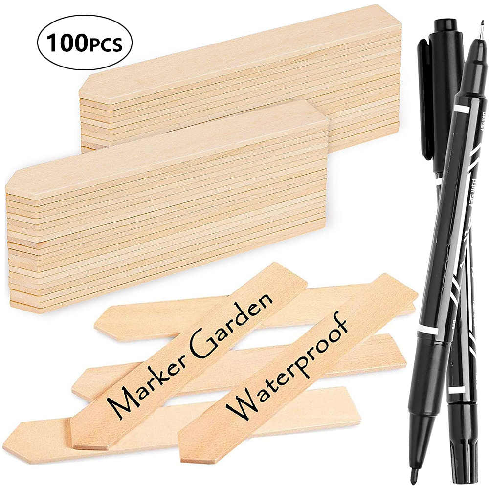 Whaline 100Pcs Wooden Plant Labels with 2 Marker Pen 15 x 2 cm Waterproof Pointed Wooden Plant Sign Tags Eco-Friendly Garden Markers Decorative Garden Tags for Seed Potted Herbs Flowers Vegetables