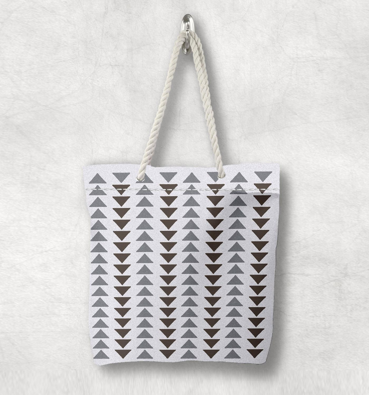 Mais cinza seta geométrica asteca autêntica nova moda corda branca alça lona saco de lona de algodão com zíper bolsa de ombro