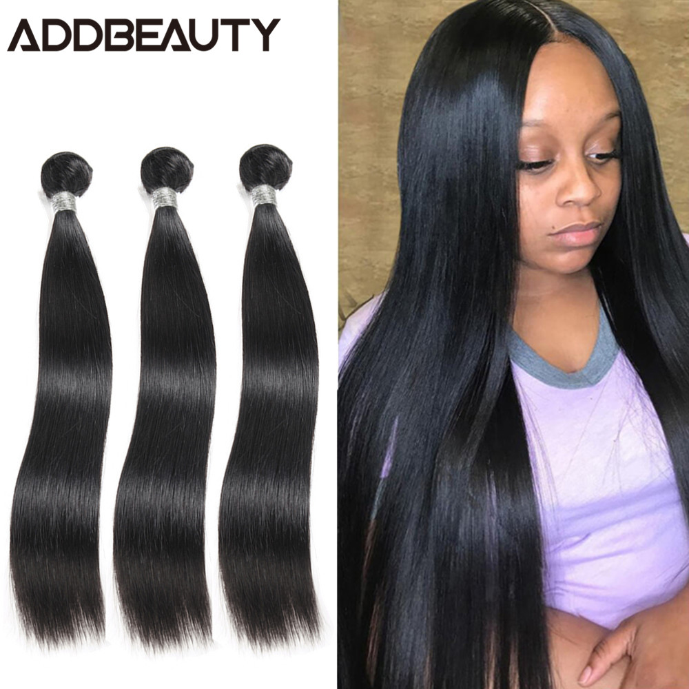 ADDBEAUTY Straight Human Hair Bundles 1/3/4 Remy Hair Weave Bundles 40 Inch Brazilian Straight Hair Extensions For Black Women