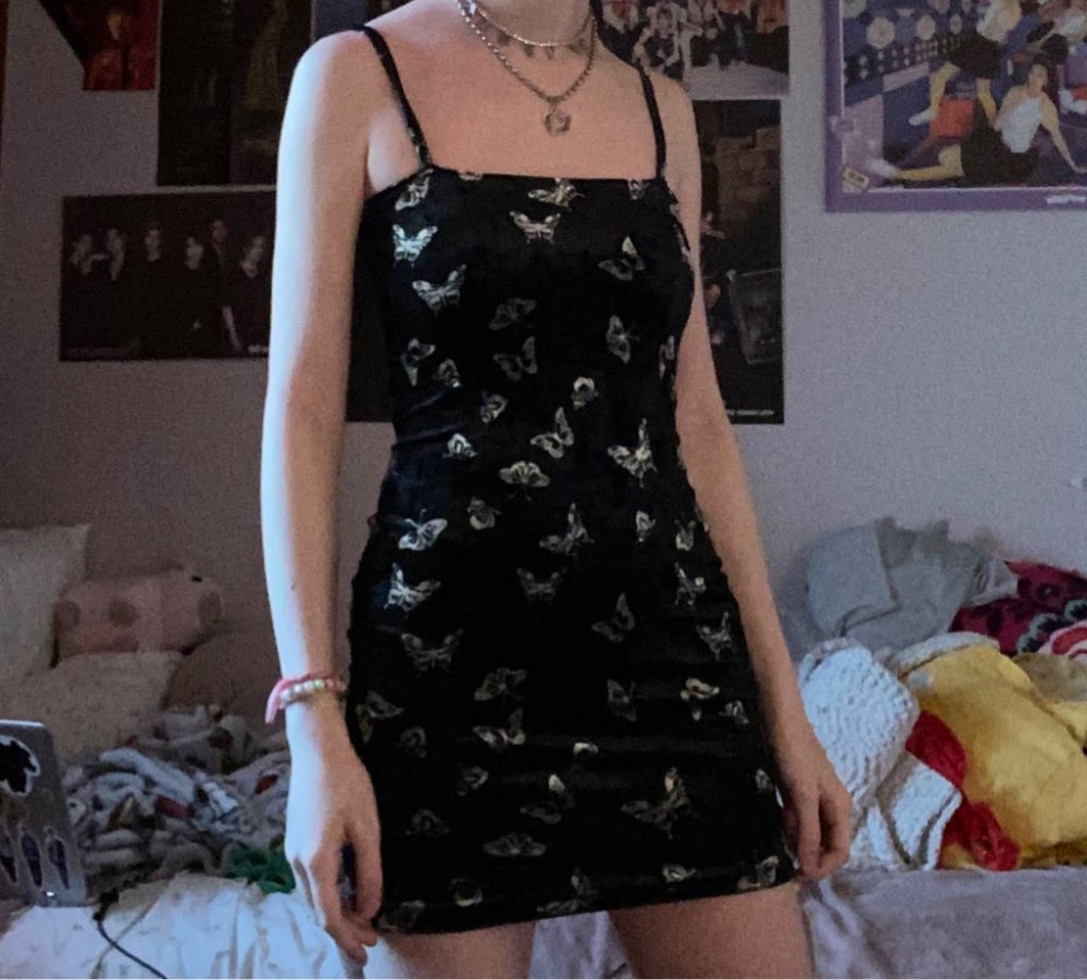 Goth Dark Harajuku Dress Women Gothic Spaghetti Strap Backless Off Shoulder Dresses Female Fashion Casual Print Sexy Mini Dress reviews №1 508541