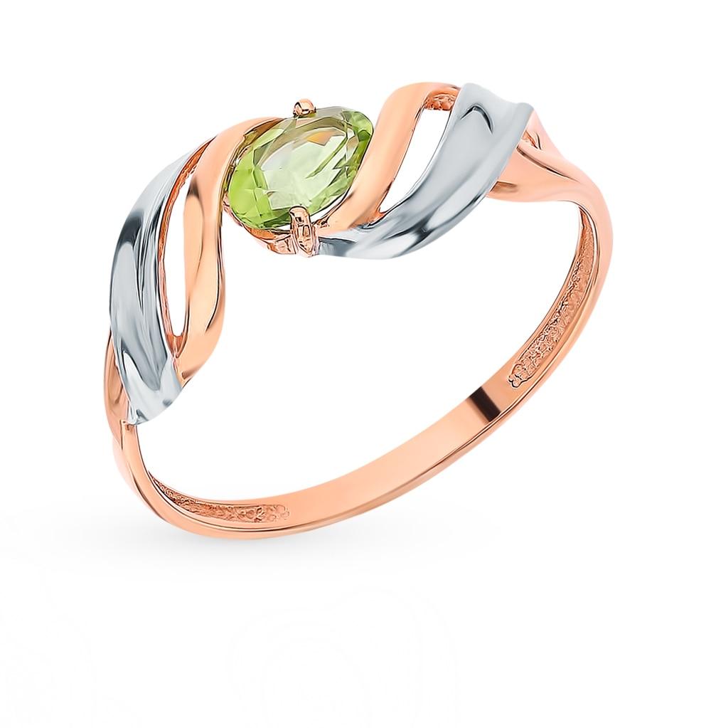 Gold Ring With хризолитом Sunlight Sample 585