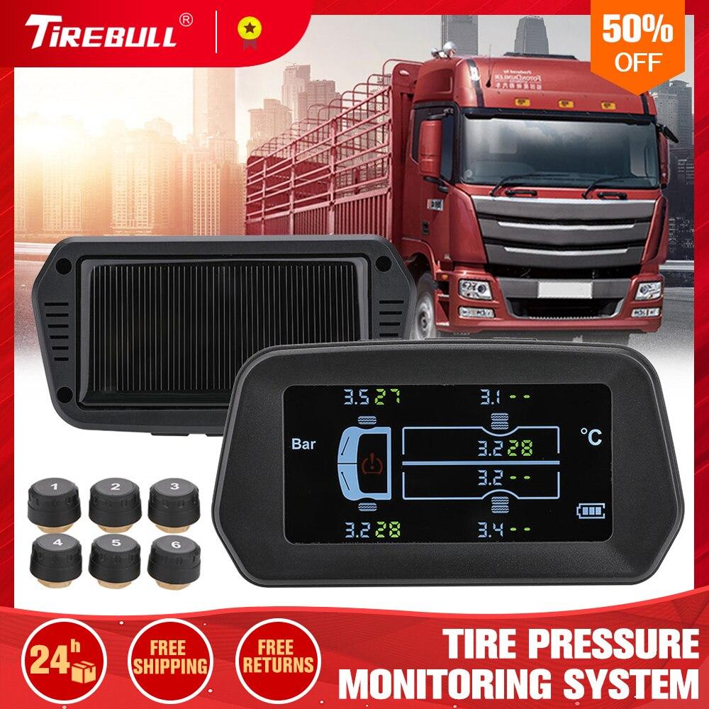 Для грузовика автомобиля TPMS система мониторинга давления в шинах 12 бар 6 шт внешний датчик ЖК-дисплей цветной экран Мониторинг давления в ши...