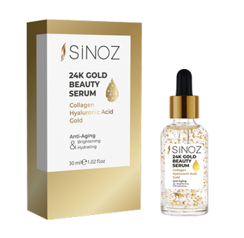Sinoz 24K Gold Beauty Serum Anti-aging and intense moisture professional care serum with collagen, hyaluronic acid, 24K gold par gold caviar collagen serum