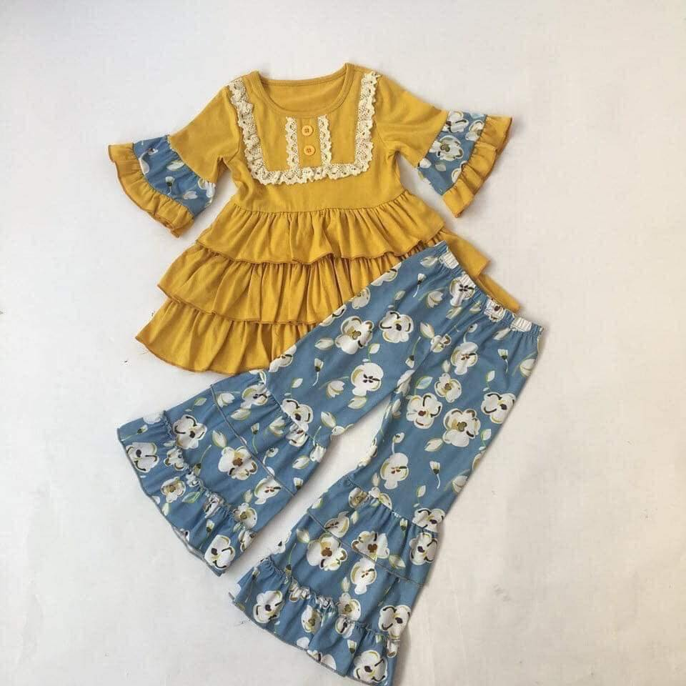 Girls Outfit Pants Children Clothing CONICE Mustard-Color Cotton Pattern Top-Blue Preorder