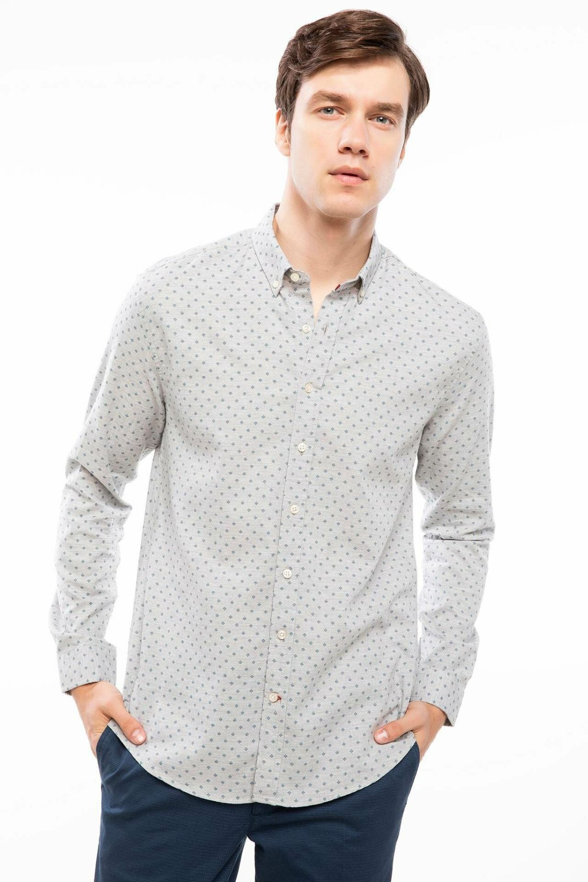 DeFacto Autumn White Man Long Sleeve Shirt Dot Prints Men Casual Smart Cotton Top Shirts Male Shirts-I9837AZ18AU