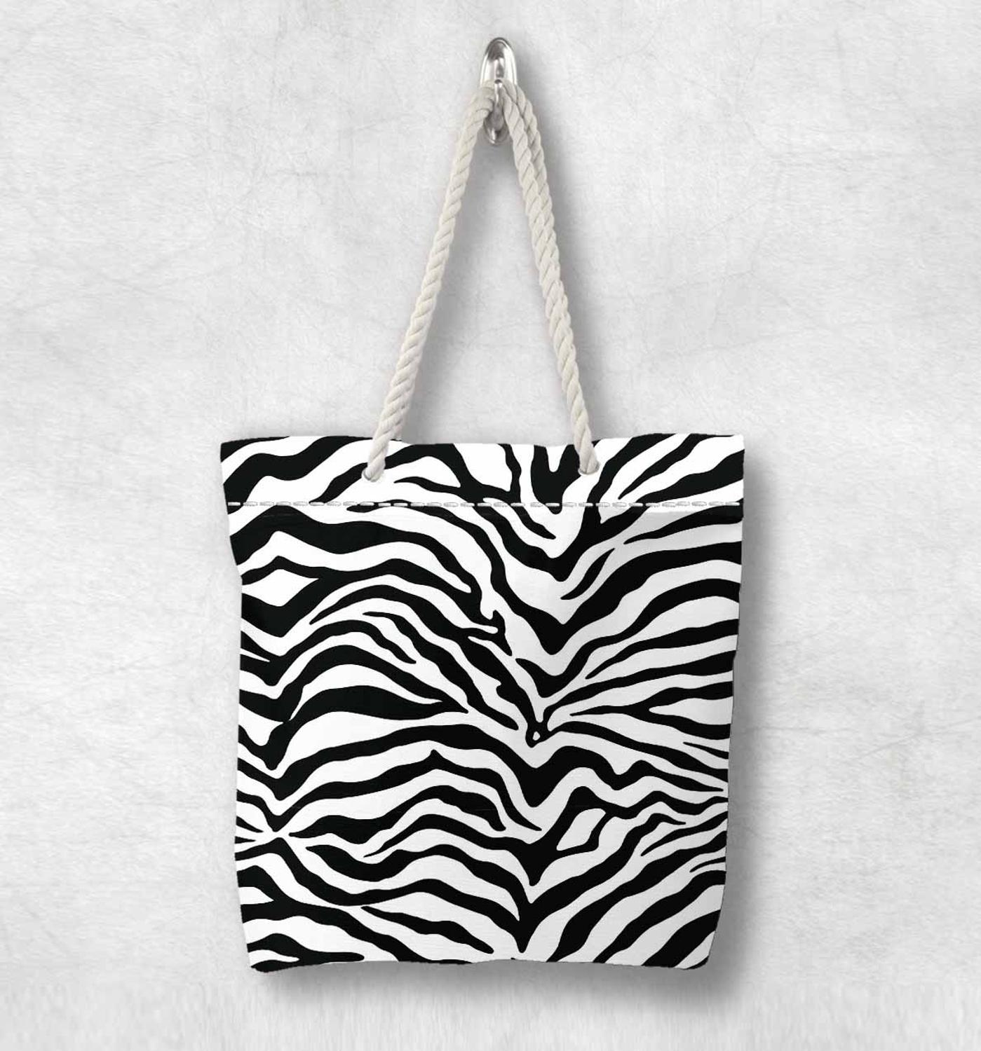 Else Black White Zebra Fur Design New Fashion White Rope Handle Canvas Bag Cotton Canvas Zippered Tote Bag Shoulder Bag