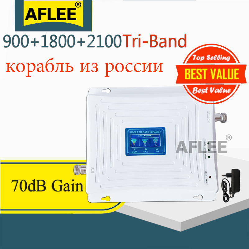 Russia 900 1800 2100 GSM Repeater 2G 3G 4G Cellular Signal Booster 4G Cellular Amplifier DCS GSM Mobile Signal Booster Repeater