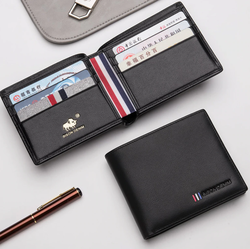 محفظة جلدية رجالية مع حامل بطاقة بيسون دينم N4475