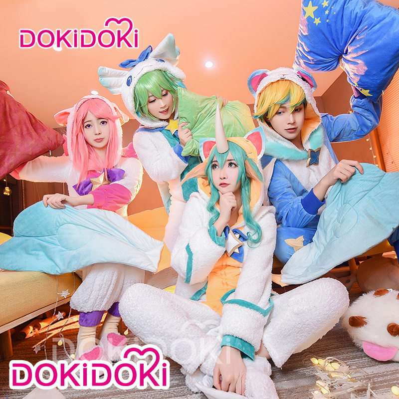 DokiDoki jeu ligue des légendes Cosplay Ezreal LULU Soraka Lux Cosplay ligue des légendes pyjama gardiens