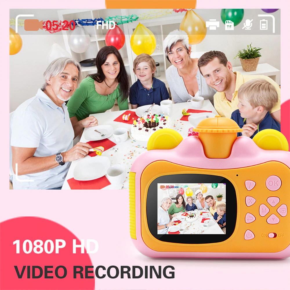 Crianças câmera de impressão instantânea câmera para crianças 1080p hd câmera de vídeo foto brinquedos com cartão 32gb 4