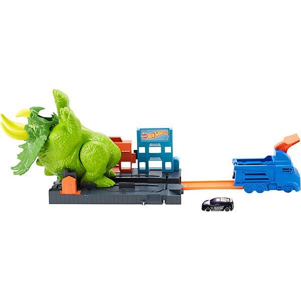 Pista de coche ruedas calientes City Angry triceratops