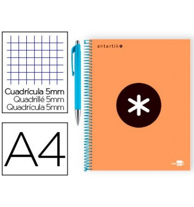 SPIRAL NOTEBOOK LIDERPAPEL A4 MICRO ANTARTIK LINED CAP 120 H 100G TABLE 5 MM COLOR ORANGE PROMO CARAN D ACHE