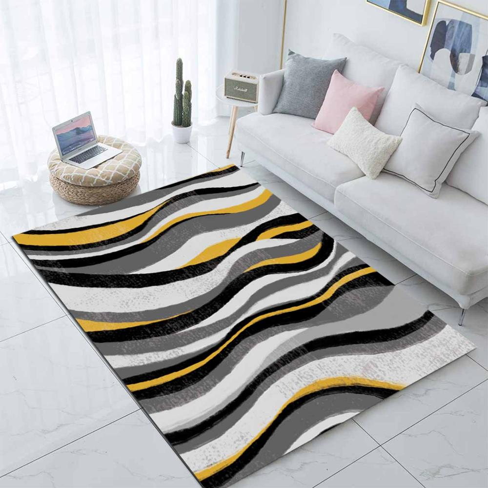 Else Black Gray Yellow Waves Nordec Scandinav 3d Print Non Slip Microfiber Living Room Decorative Modern Washable Area Rug Mat