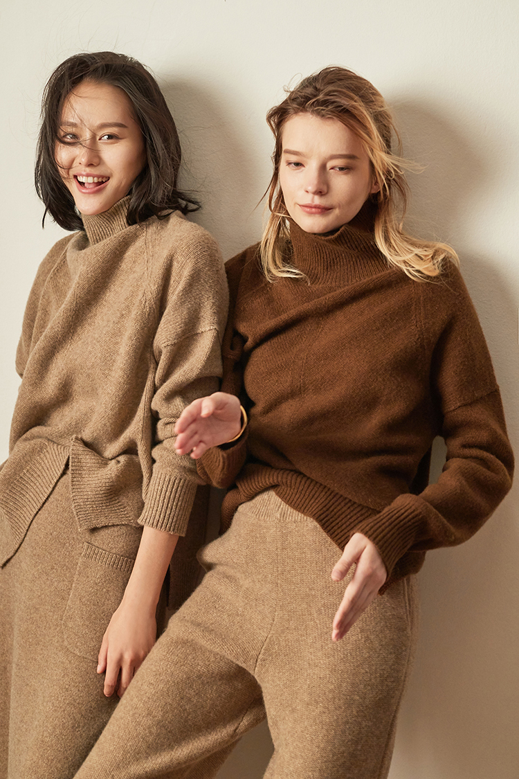 Obrix Loose Casual Style Female Sweater Turtleneck Full Sleeve Assymetric Length American Fashion Pullover For Women