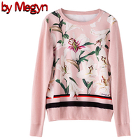 2019 свитер женский sweater Women Fashion O neck Long Sleeve wool pink flower Print Top Jumper runway style 2XL plus size