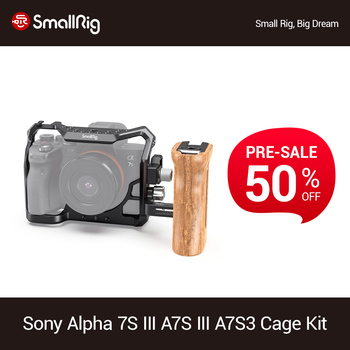 цена на SmallRig a7s3 A7siii Camera Cage For SONY Alpha 7S III Dslr Camera Cage+Wooden Side Handle+HDMI Cable Clamp Video Cage Kit -3008