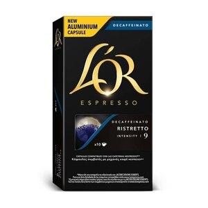L 'or decaffeinated Ristretto, 10 compatible NESPRESSO aluminium capsules