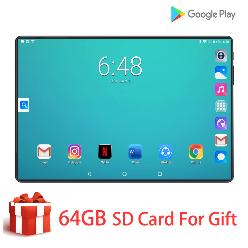 10 Inch Tablet PC 6GB RAM 128GB ROM HD Glass IPS Dual SIM Card 6000mAh Battery 3G 4G LTE FDD Wifi Android 9.0 Tablet 10 For Kids