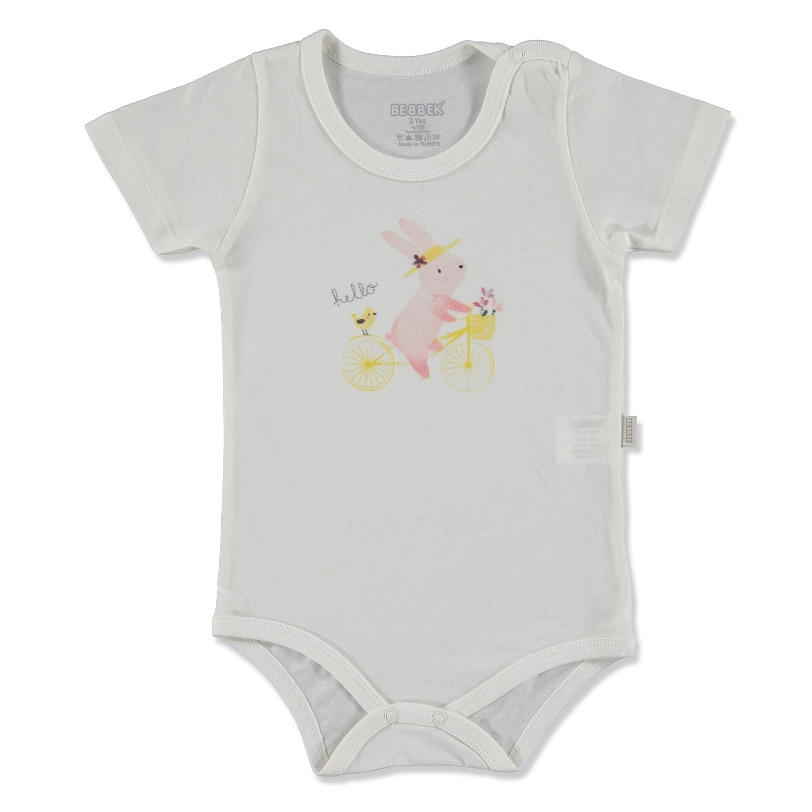 Ebebek Bebbek Summer Baby Girl Hello Supreme Crew-Neck Bodysuit